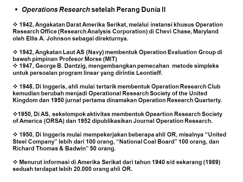  Operations Research setelah Perang Dunia II  1942, Angakatan Darat Amerika Serikat, melalui instansi khusus Operation Research Office (Research Analysis Corporation) di Chevi Chase, Maryland oleh Ellis A.