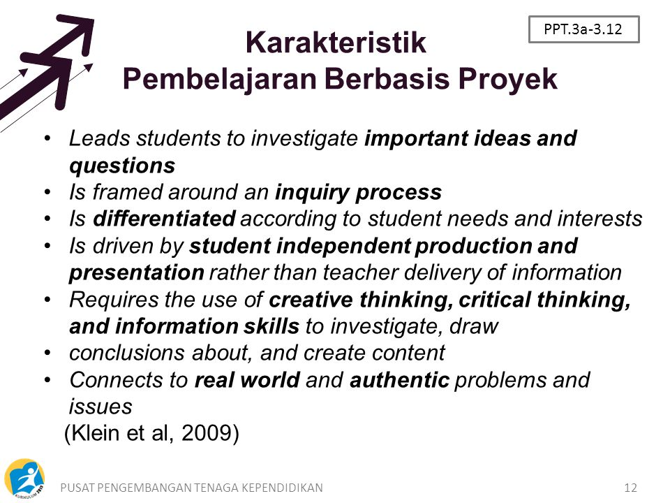 PUSAT PENGEMBANGAN TENAGA KEPENDIDIKAN12 Karakteristik Pembelajaran Berbasis Proyek Leads students to investigate important ideas and questions Is framed around an inquiry process Is differentiated according to student needs and interests Is driven by student independent production and presentation rather than teacher delivery of information Requires the use of creative thinking, critical thinking, and information skills to investigate, draw conclusions about, and create content Connects to real world and authentic problems and issues (Klein et al, 2009) PPT.3a-3.12