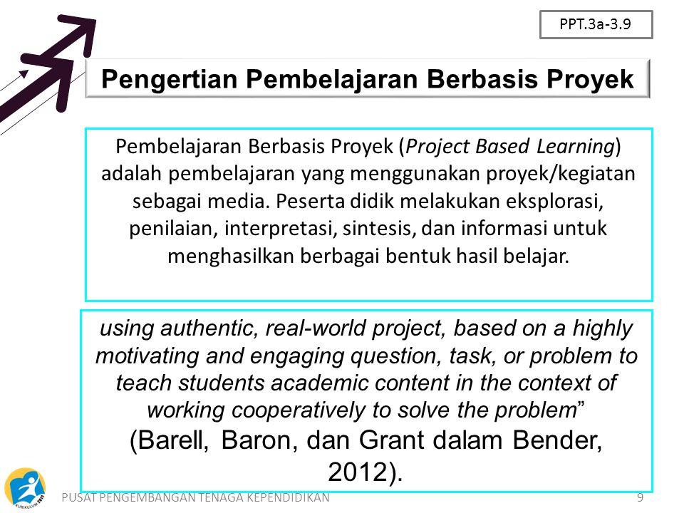 PUSAT PENGEMBANGAN TENAGA KEPENDIDIKAN9 Pengertian Pembelajaran Berbasis Proyek Pembelajaran Berbasis Proyek (Project Based Learning) adalah pembelaja