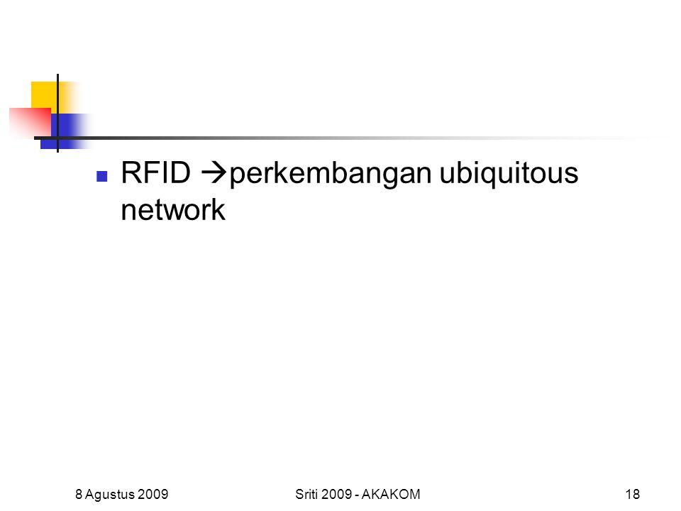 RFID  perkembangan ubiquitous network 8 Agustus 2009Sriti 2009 - AKAKOM18