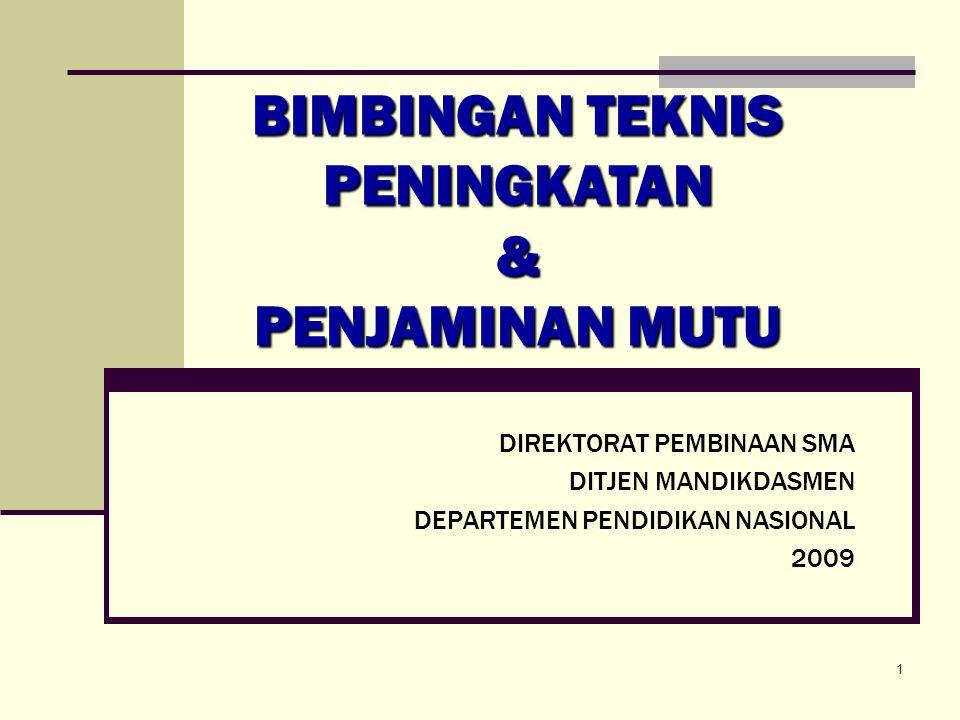 DIREKTORAT PEMBINAAN SMA DITJEN MANDIKDASMEN DEPARTEMEN PENDIDIKAN NASIONAL 2009 BIMBINGAN TEKNIS PENINGKATAN & PENJAMINAN MUTU 1
