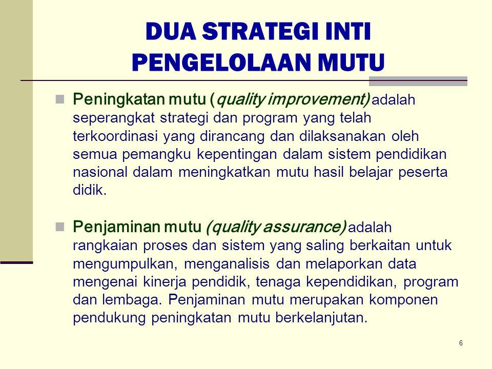 DUA STRATEGI INTI PENGELOLAAN MUTU Peningkatan mutu (quality improvement) adalah seperangkat strategi dan program yang telah terkoordinasi yang diranc