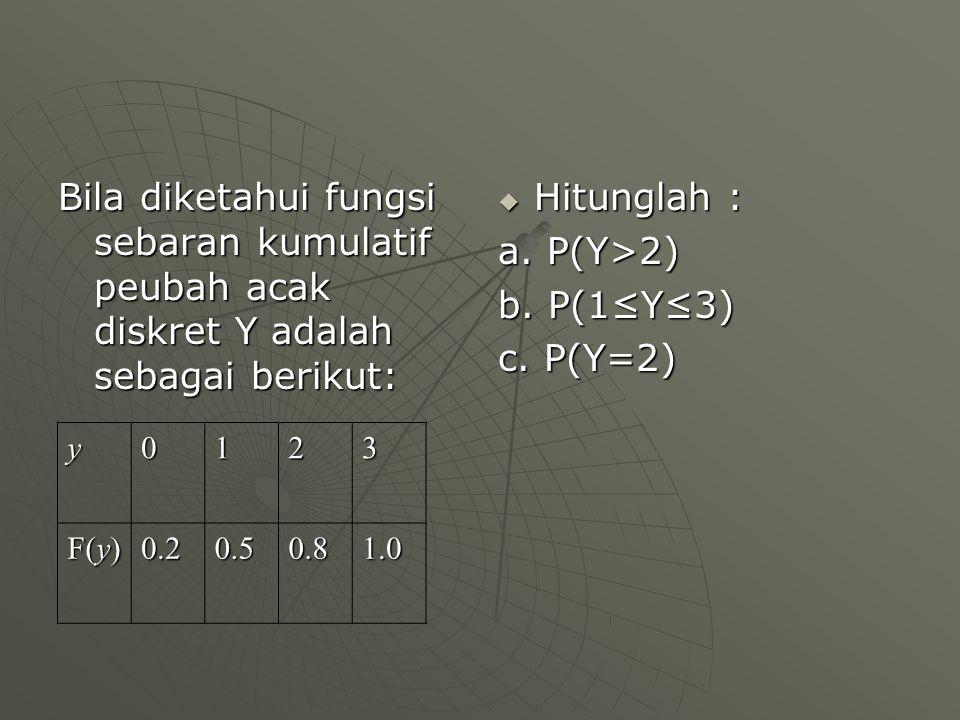 Bila diketahui fungsi sebaran kumulatif peubah acak diskret Y adalah sebagai berikut:  Hitunglah : a. P(Y>2) b. P(1≤Y≤3) c. P(Y=2) y0123 F(y) 0.20.50