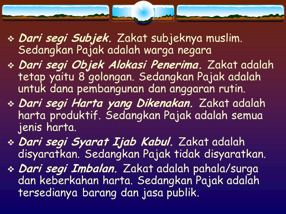  Dari segi Sanksi.Zakat adalah Allah dan pemerintah Islam.