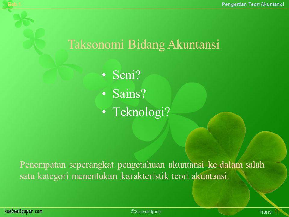  Suwardjono Bab 1Pengertian Teori Akuntansi 12/17/2014 Transi 11 Taksonomi Bidang Akuntansi Seni.