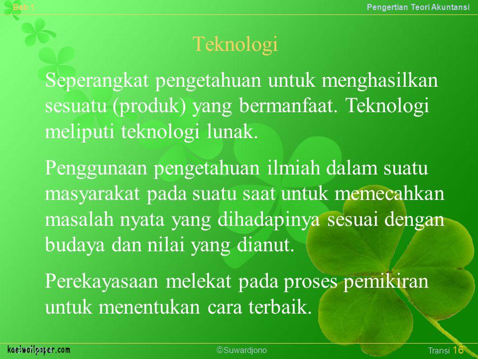  Suwardjono Bab 1Pengertian Teori Akuntansi 12/17/2014 Transi 16 Seperangkat pengetahuan untuk menghasilkan sesuatu (produk) yang bermanfaat.