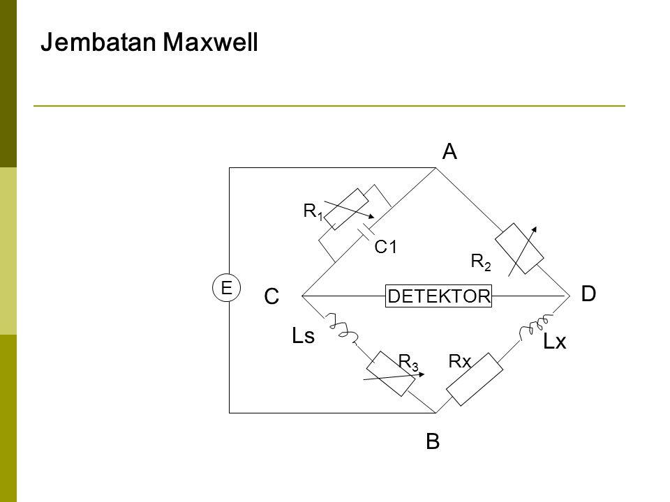 Jembatan Maxwell C D A B R1R1 R2R2 RxR3R3 E Ls Lx DETEKTOR C1