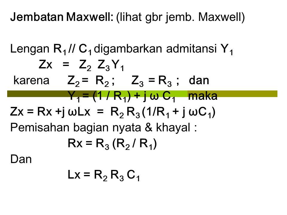 Jembatan Maxwell: (lihat gbr jemb. Maxwell) Lengan R 1 // C 1 digambarkan admitansi Y 1 Zx = Z 2 Z 3 Y 1 karena Z 2 = R 2 ; Z 3 = R 3 ; dan Y 1 = (1 /