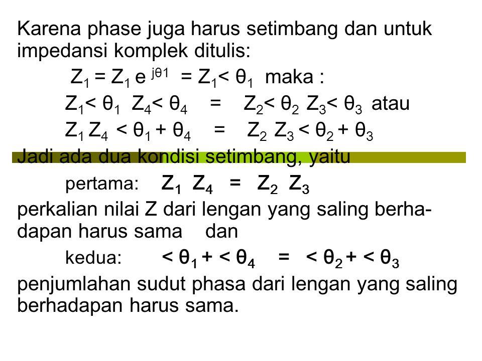 Karena phase juga harus setimbang dan untuk impedansi komplek ditulis: Z 1 = Z 1 e jθ1 = Z 1 < θ 1 maka : Z 1 < θ 1 Z 4 < θ 4 = Z 2 < θ 2 Z 3 < θ 3 at