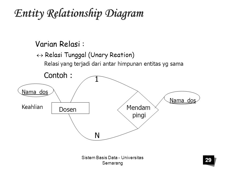 Sistem Basis Data - Universitas Semarang 29 Entity Relationship Diagram Varian Relasi :  Relasi Tunggal (Unary Reation) Relasi yang terjadi dari anta