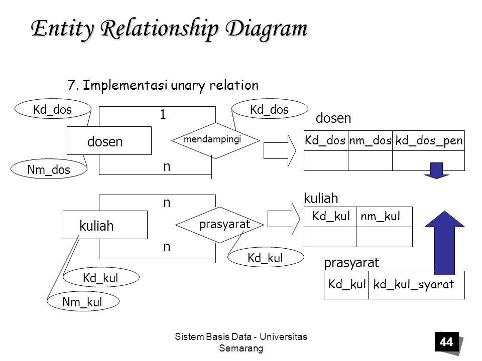 Sistem Basis Data - Universitas Semarang 44 Entity Relationship Diagram 7.