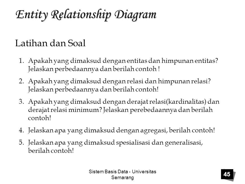 Sistem Basis Data - Universitas Semarang 45 Entity Relationship Diagram Latihan dan Soal 1.Apakah yang dimaksud dengan entitas dan himpunan entitas? J