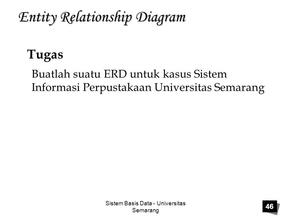 Sistem Basis Data - Universitas Semarang 46 Entity Relationship Diagram Tugas Buatlah suatu ERD untuk kasus Sistem Informasi Perpustakaan Universitas