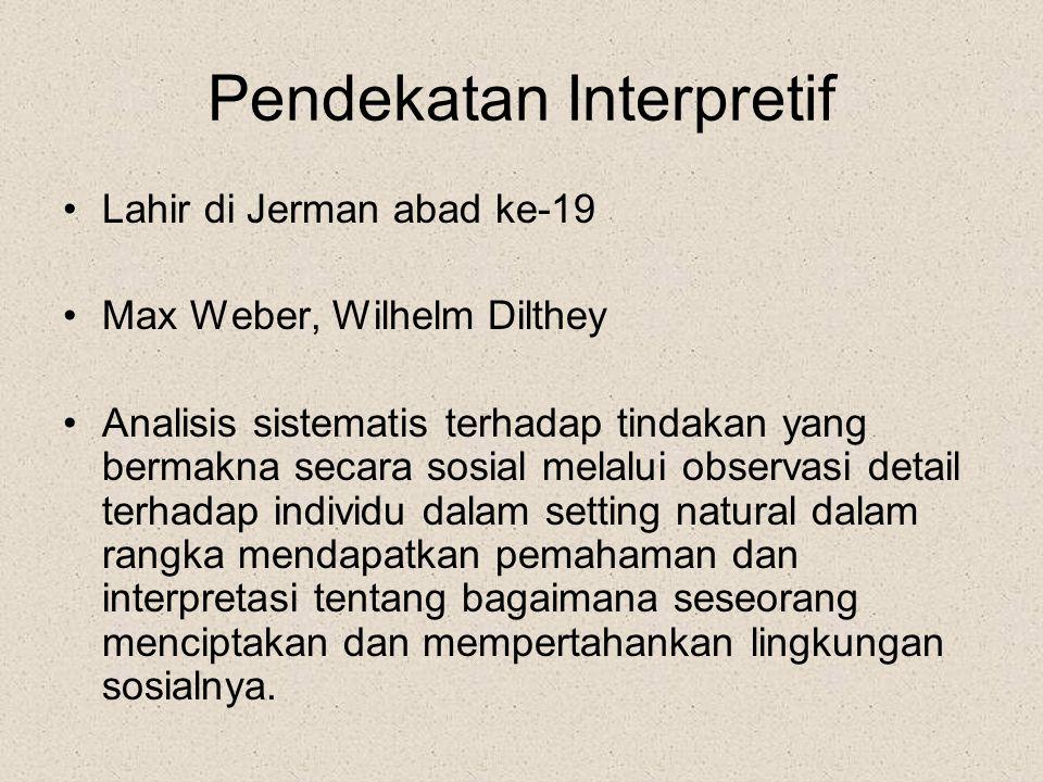 Pendekatan Interpretif Lahir di Jerman abad ke-19 Max Weber, Wilhelm Dilthey Analisis sistematis terhadap tindakan yang bermakna secara sosial melalui observasi detail terhadap individu dalam setting natural dalam rangka mendapatkan pemahaman dan interpretasi tentang bagaimana seseorang menciptakan dan mempertahankan lingkungan sosialnya.