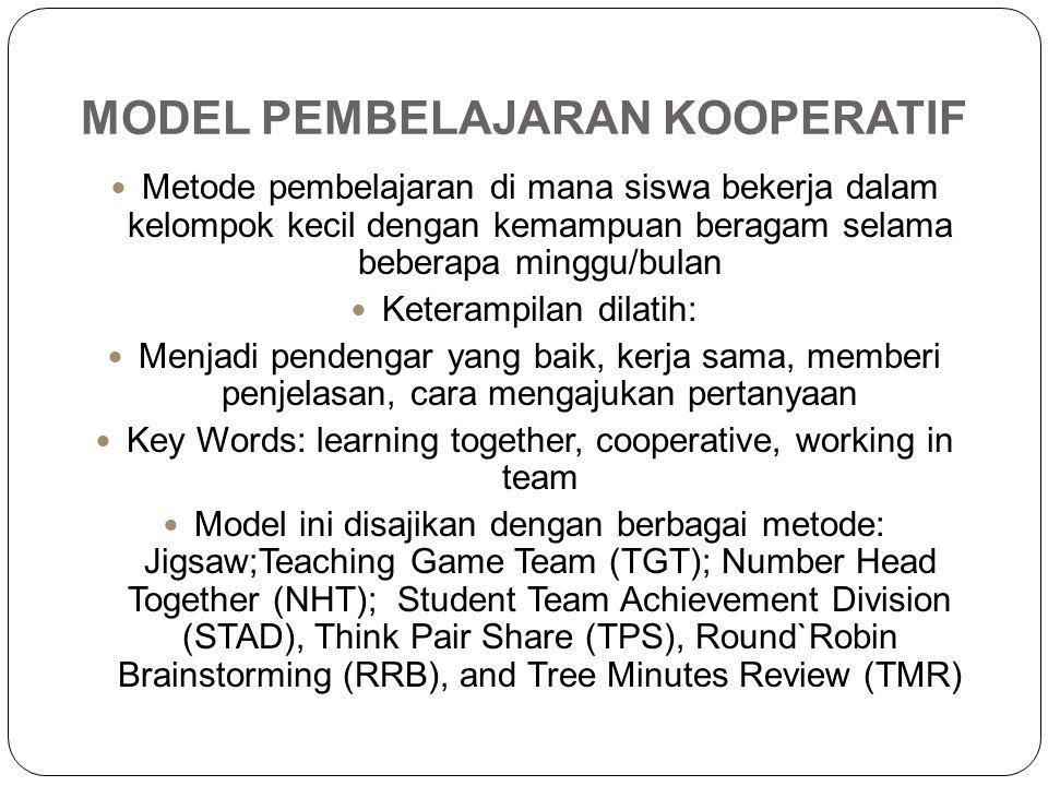 MODEL PEMBELAJARAN KOOPERATIF Metode pembelajaran di mana siswa bekerja dalam kelompok kecil dengan kemampuan beragam selama beberapa minggu/bulan Ket