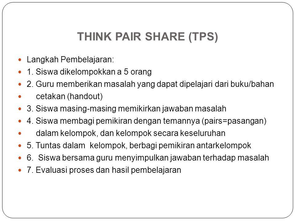 THINK PAIR SHARE (TPS) Langkah Pembelajaran: 1. Siswa dikelompokkan a 5 orang 2. Guru memberikan masalah yang dapat dipelajari dari buku/bahan cetakan