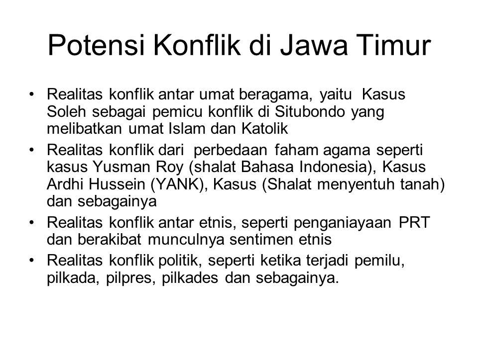 Potensi Konflik di Jawa Timur Realitas konflik antar umat beragama, yaitu Kasus Soleh sebagai pemicu konflik di Situbondo yang melibatkan umat Islam d