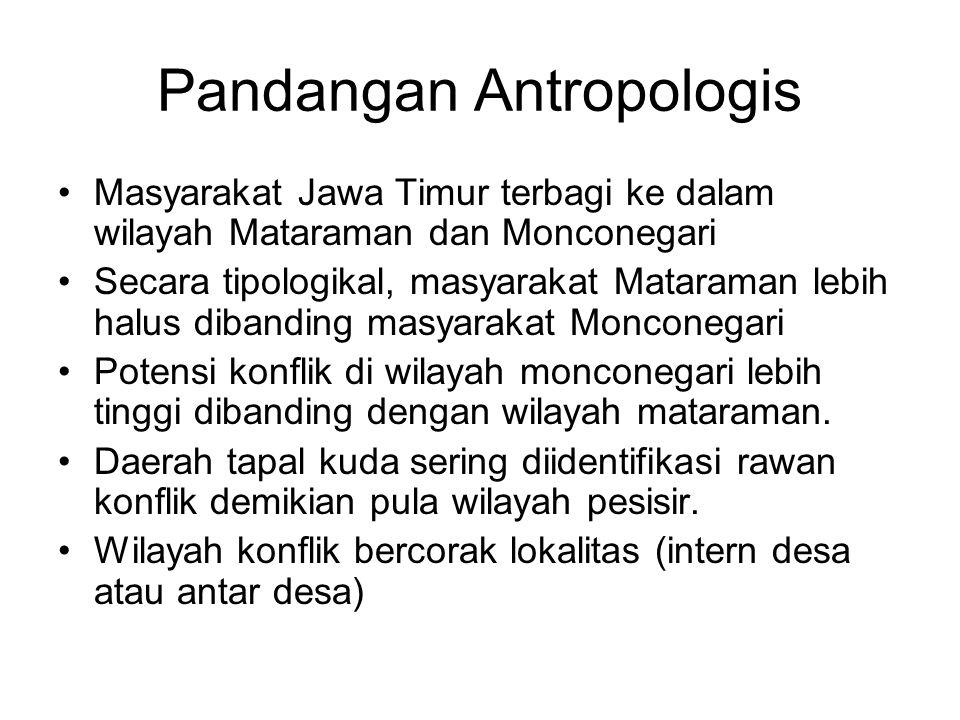 Pandangan Antropologis Masyarakat Jawa Timur terbagi ke dalam wilayah Mataraman dan Monconegari Secara tipologikal, masyarakat Mataraman lebih halus d