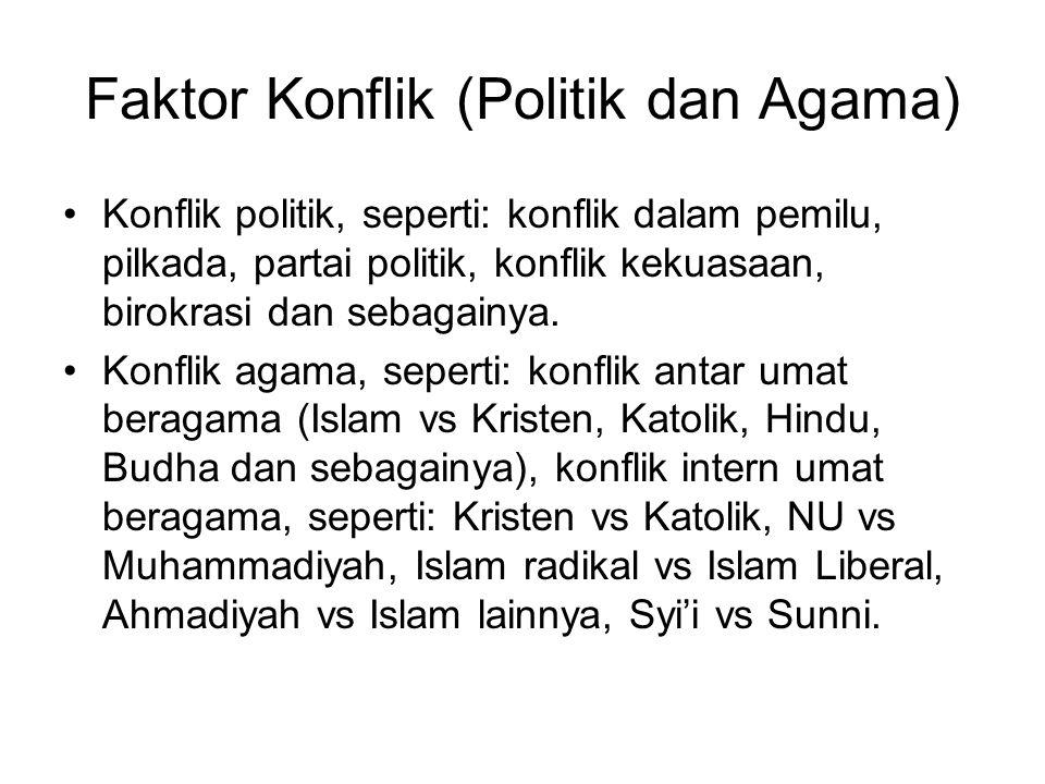 Faktor Konflik (Politik dan Agama) Konflik politik, seperti: konflik dalam pemilu, pilkada, partai politik, konflik kekuasaan, birokrasi dan sebagainy