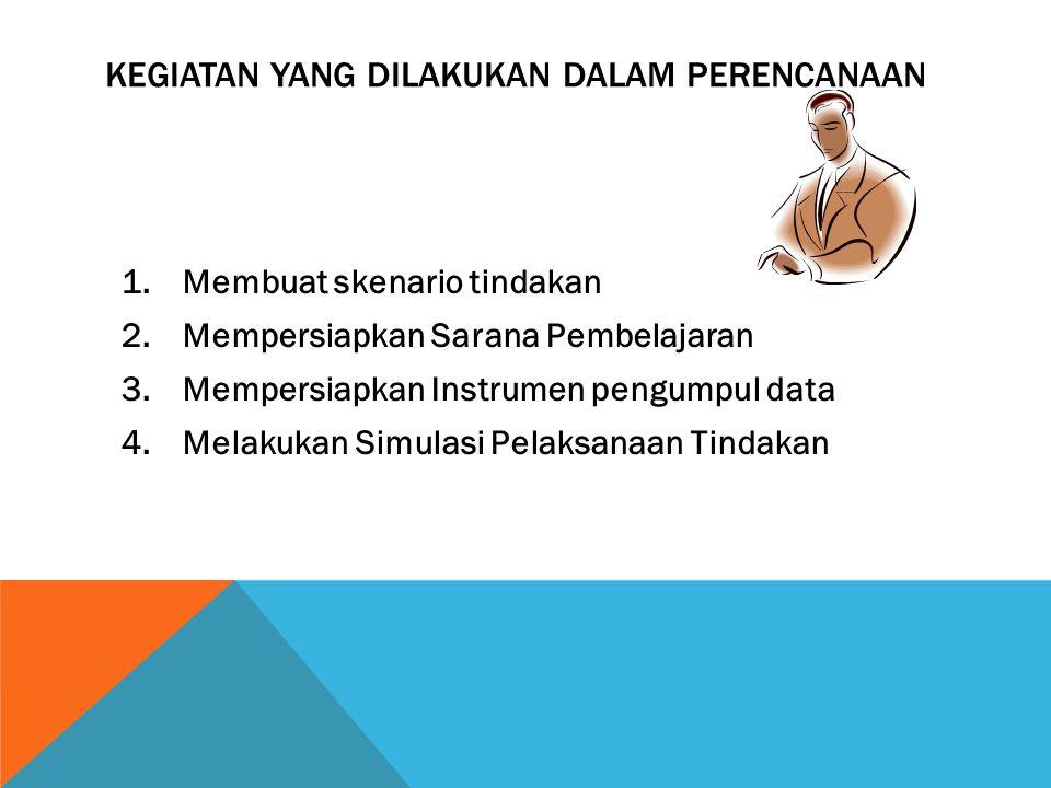KEGIATAN YANG DILAKUKAN DALAM PERENCANAAN 1.Membuat skenario tindakan 2.Mempersiapkan Sarana Pembelajaran 3.Mempersiapkan Instrumen pengumpul data 4.M