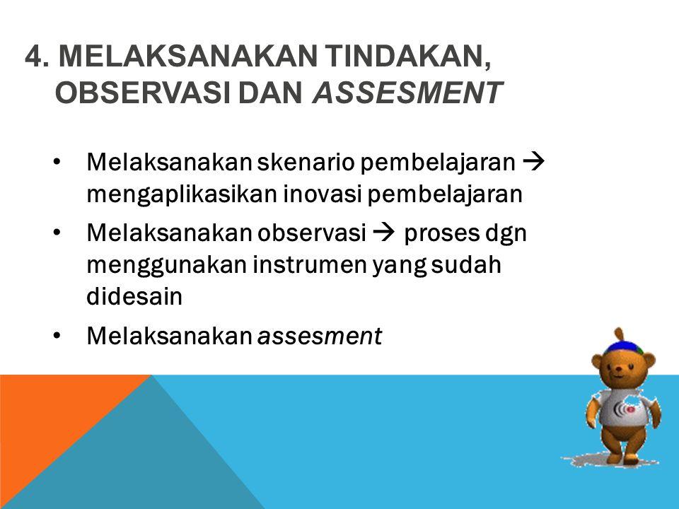 Melaksanakan skenario pembelajaran  mengaplikasikan inovasi pembelajaran Melaksanakan observasi  proses dgn menggunakan instrumen yang sudah didesain Melaksanakan assesment 4.