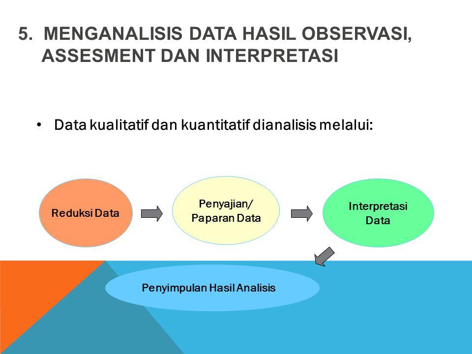 Data kualitatif dan kuantitatif dianalisis melalui: 5. MENGANALISIS DATA HASIL OBSERVASI, ASSESMENT DAN INTERPRETASI Reduksi Data Penyajian/ Paparan D