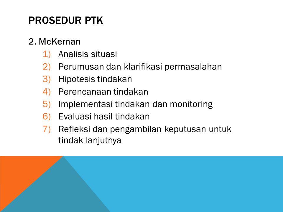 PROSEDUR PTK 2. McKernan 1)Analisis situasi 2)Perumusan dan klarifikasi permasalahan 3)Hipotesis tindakan 4)Perencanaan tindakan 5)Implementasi tindak