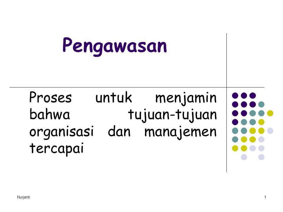 Nurjanti 2 Tipe-tipe Pengawasan Pengawasan Pendahuluan (Steering Control), dirancang utk mengantisipasi masalah-masalah atau penyimpangan-penyimpangan dr standar/tujuan dan memungkinkan koreksi dibuat sebelum suatu tahap kegiatan tertentu diselesaikan Pengawasan Concurrent (screening Control),pengawasan yang dilakukan pd saat melakukan kegiatan (Berhenti-terus, Ya-tidak) Pengawasan Umpan Balik (Past-action Control), mengukur hasil-hasil dari suatu kegiatan yang telah diselesaikan