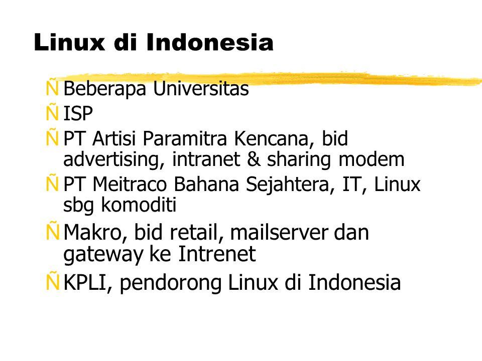 Linux di Indonesia ÑBeberapa Universitas ÑISP ÑPT Artisi Paramitra Kencana, bid advertising, intranet & sharing modem ÑPT Meitraco Bahana Sejahtera, IT, Linux sbg komoditi ÑMakro, bid retail, mailserver dan gateway ke Intrenet ÑKPLI, pendorong Linux di Indonesia