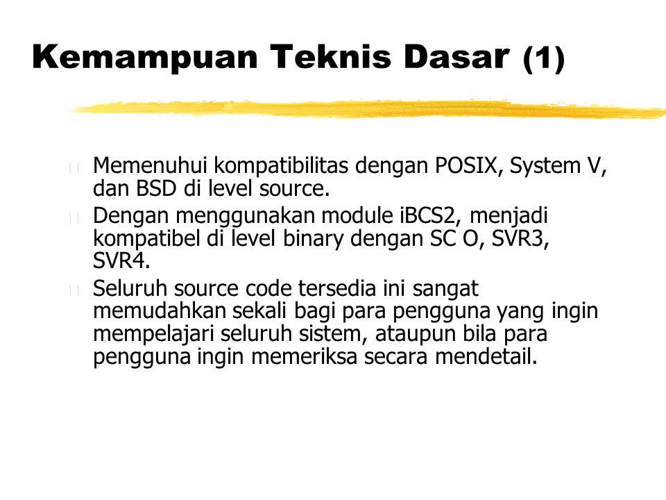 Kemampuan Teknis Dasa r (1) • Memenuhui kompatibilitas dengan POSIX, System V, dan BSD di level source.