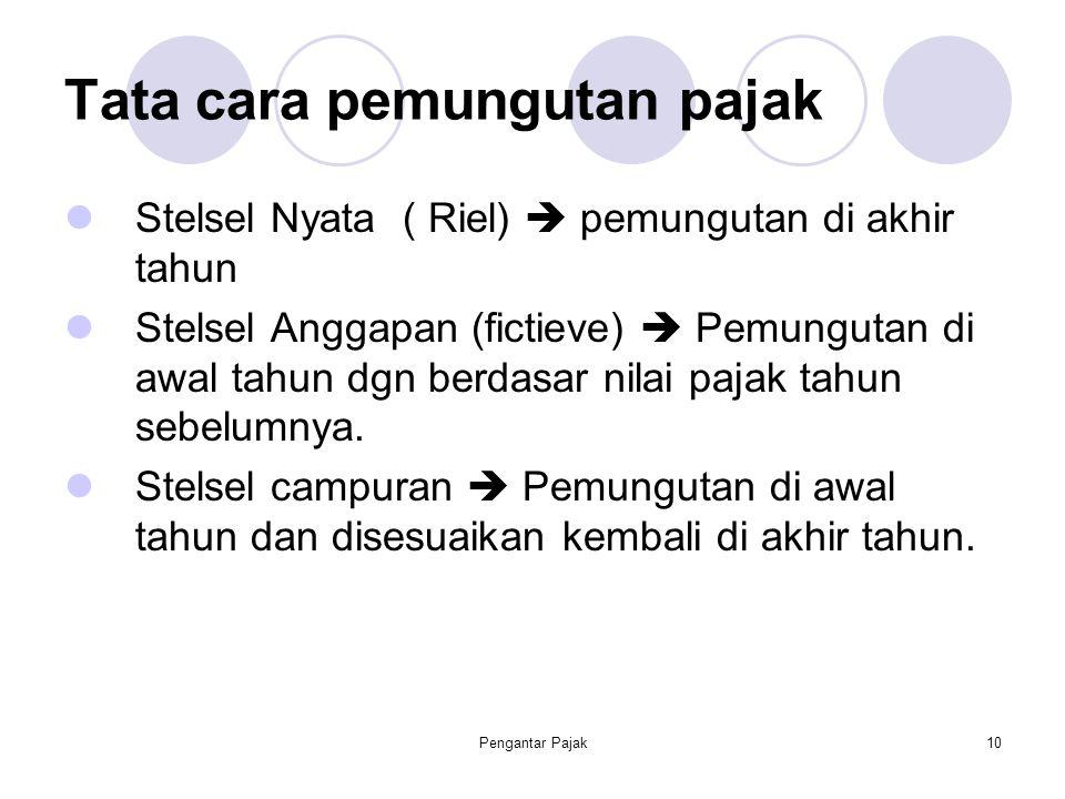 Pengantar Pajak10 Tata cara pemungutan pajak Stelsel Nyata ( Riel)  pemungutan di akhir tahun Stelsel Anggapan (fictieve)  Pemungutan di awal tahun