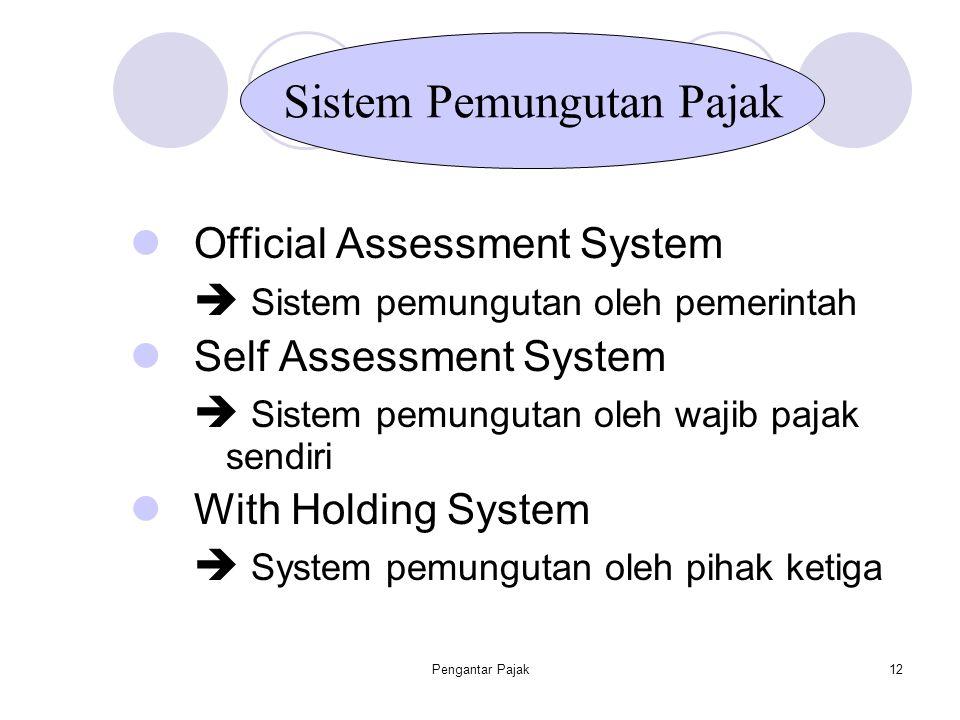 Pengantar Pajak12 Official Assessment System  Sistem pemungutan oleh pemerintah Self Assessment System  Sistem pemungutan oleh wajib pajak sendiri W