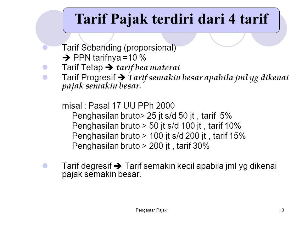 Pengantar Pajak13 Tarif Sebanding (proporsional)  PPN tarifnya =10 % Tarif Tetap  tarif bea materai Tarif Progresif  Tarif semakin besar apabila jm