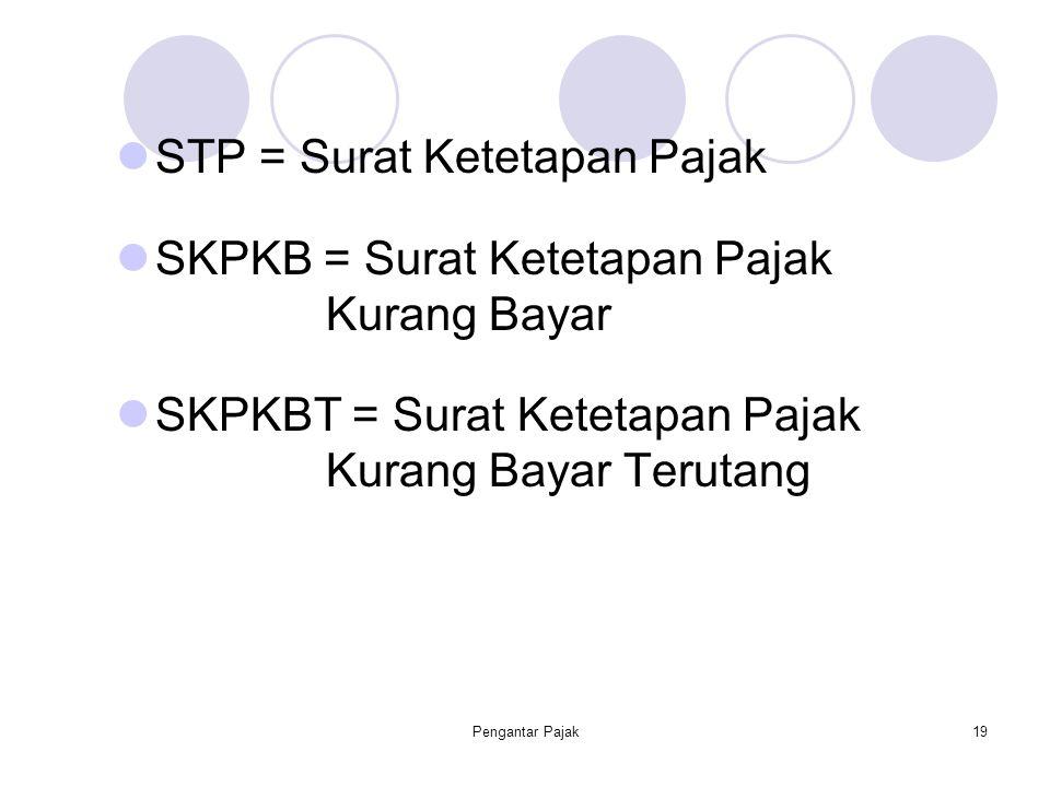 Pengantar Pajak19 STP = Surat Ketetapan Pajak SKPKB = Surat Ketetapan Pajak Kurang Bayar SKPKBT = Surat Ketetapan Pajak Kurang Bayar Terutang