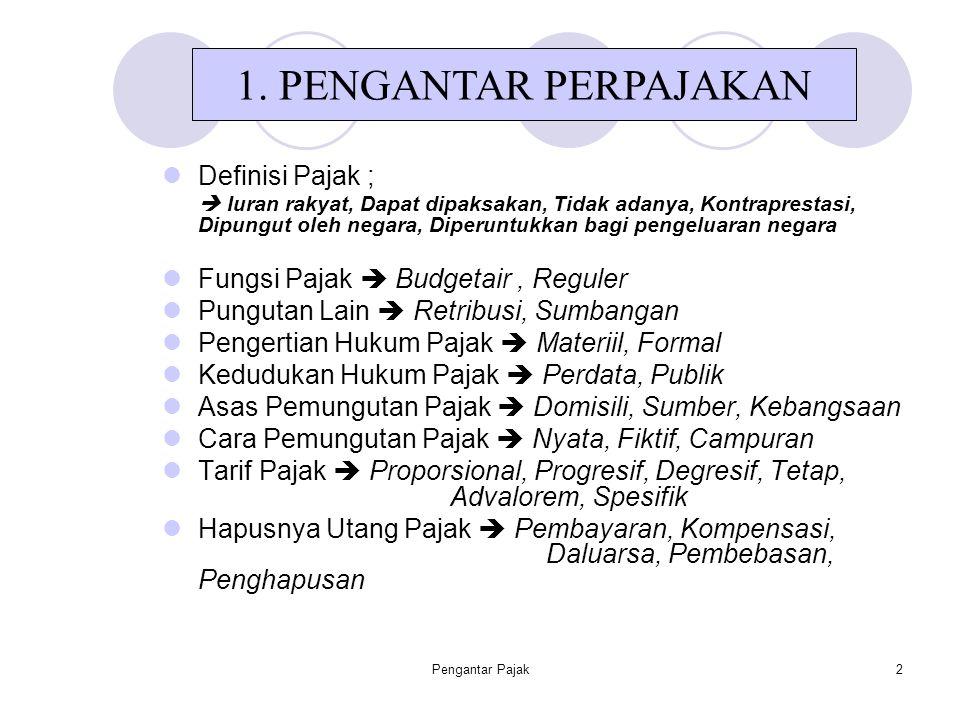 Pengantar Pajak3 Definisi : NPWP : adalah No Pokok Wajib Pajak yang berguna sebagai identitas Wajib pajak.