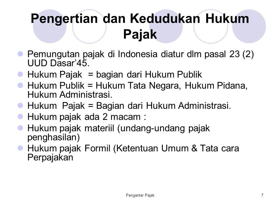 Pengantar Pajak7 Pengertian dan Kedudukan Hukum Pajak Pemungutan pajak di Indonesia diatur dlm pasal 23 (2) UUD Dasar'45. Hukum Pajak = bagian dari Hu