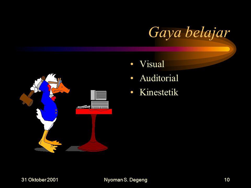 31 Oktober 2001Nyoman S. Degeng9 Motivasi Berprestasi MB Tinggi Suka persaingan Menghindari evaluasi Keberhasilan untuk kepuasan diri Keberdayaan menc