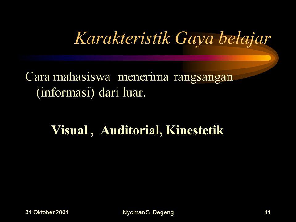 31 Oktober 2001Nyoman S. Degeng10 Gaya belajar Visual Auditorial Kinestetik