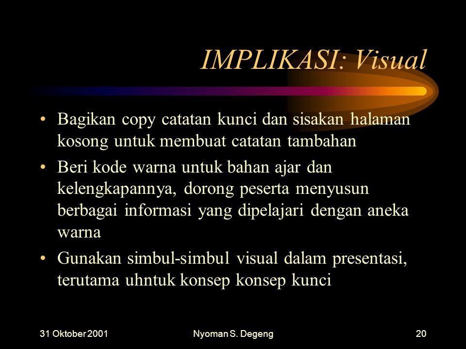31 Oktober 2001Nyoman S. Degeng19 IMPLIKASI: Visual Gunakan kertas dengan tulisan berwarna dp papan tulis. Gantungkan grafik berisi informasi penting