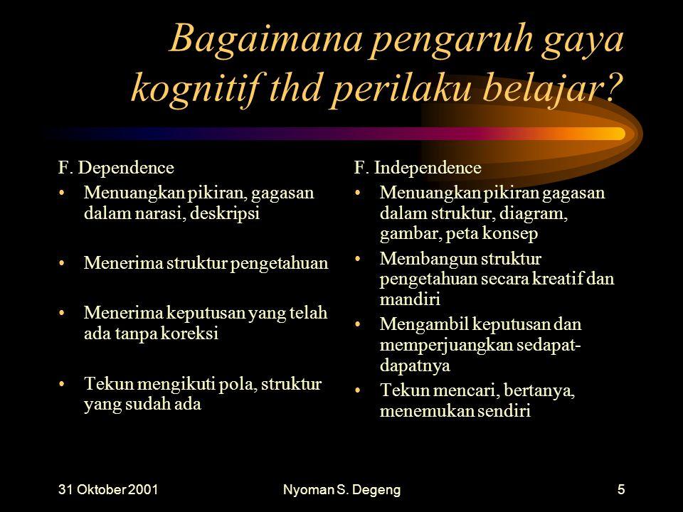31 Oktober 2001Nyoman S.Degeng5 Bagaimana pengaruh gaya kognitif thd perilaku belajar.