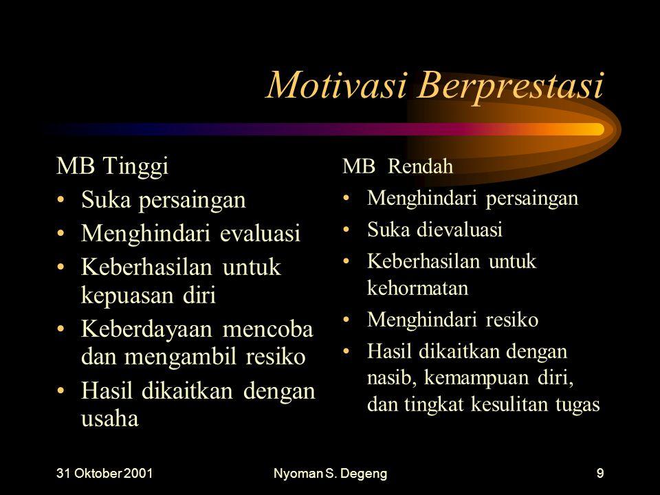 31 Oktober 2001Nyoman S. Degeng8 Motivasi Berprestasi MB Tinggi Menyukai tugas yang dipilih sendiri Tugas sesedikit mungkin Usaha kerja setinggi mungk