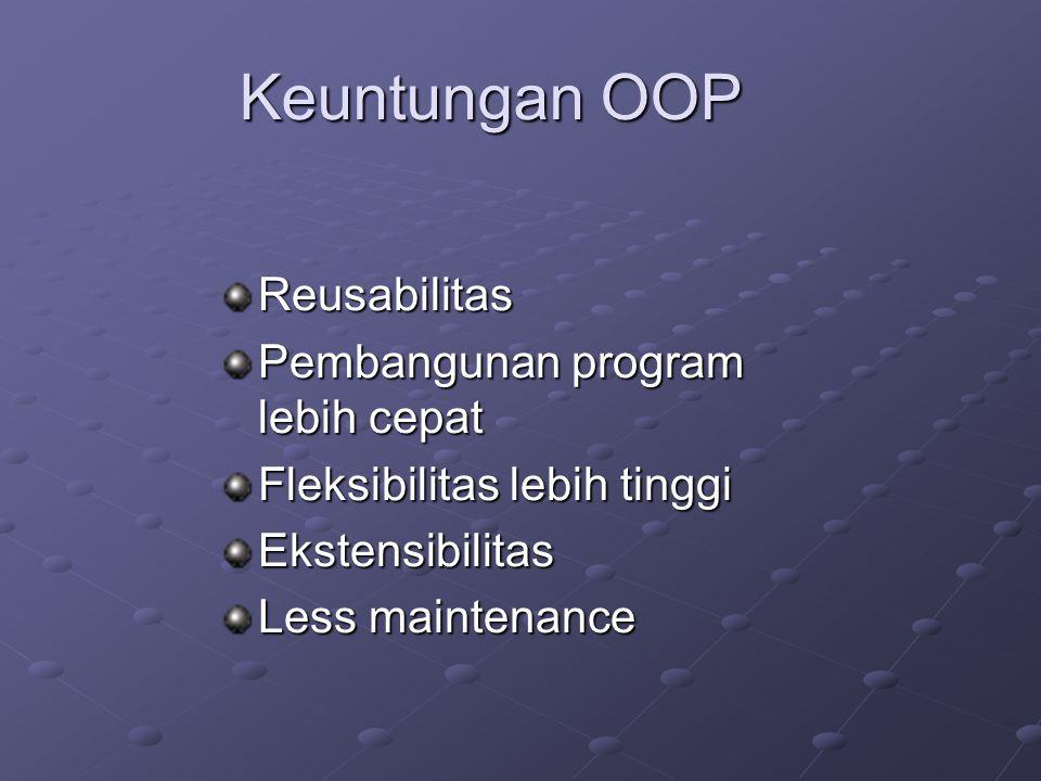 Keuntungan OOP Reusabilitas Pembangunan program lebih cepat Fleksibilitas lebih tinggi Ekstensibilitas Less maintenance