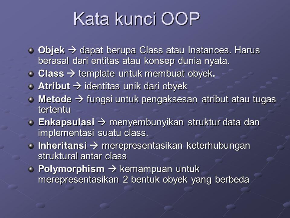 Kata kunci OOP Objek  dapat berupa Class atau Instances. Harus berasal dari entitas atau konsep dunia nyata. Class  template untuk membuat obyek. At