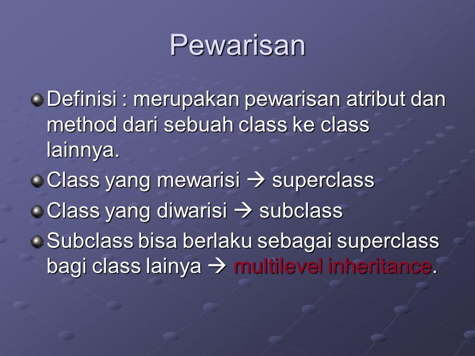 Pewarisan Definisi : merupakan pewarisan atribut dan method dari sebuah class ke class lainnya. Class yang mewarisi  superclass Class yang diwarisi 