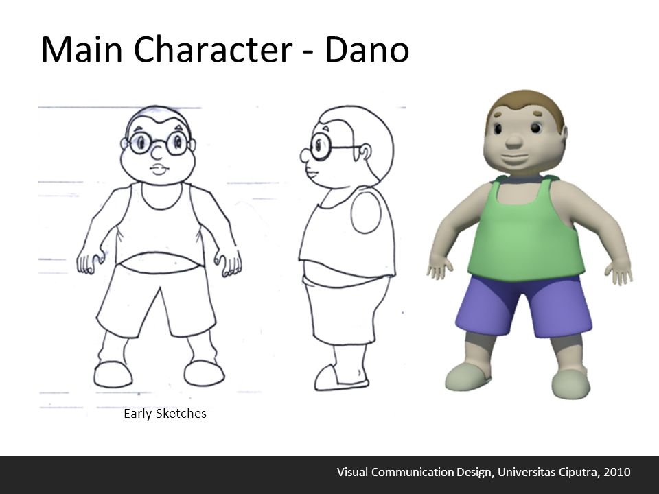Visual Communication Design, Universitas Ciputra, 2010 Main Character - Dano Early Sketches