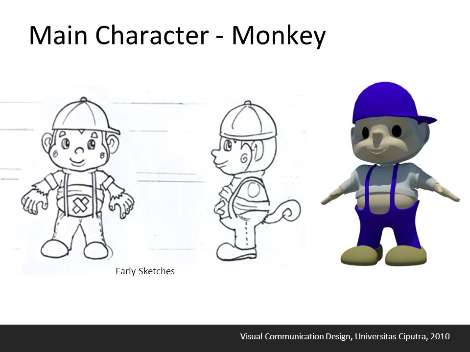 Visual Communication Design, Universitas Ciputra, 2010 Main Character - Monkey Early Sketches