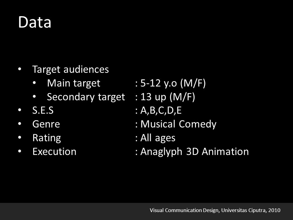 Visual Communication Design, Universitas Ciputra, 2010 Data Target audiences Main target: 5-12 y.o (M/F) Secondary target : 13 up (M/F) S.E.S: A,B,C,D,E Genre: Musical Comedy Rating: All ages Execution: Anaglyph 3D Animation