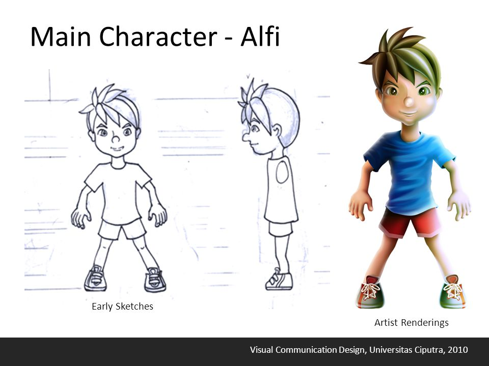 Visual Communication Design, Universitas Ciputra, 2010 Main Character - Alfi Early Sketches Artist Renderings