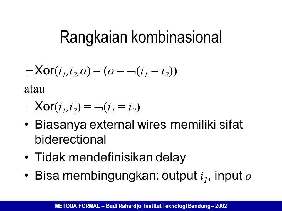 METODA FORMAL – Budi Rahardjo, Institut Teknologi Bandung – 2002 Xor (i 1,i 2,o) = (o =  (i 1 = i 2 )) atau Xor (i 1,i 2 ) =  (i 1 = i 2 ) Biasanya external wires memiliki sifat biderectional Tidak mendefinisikan delay Bisa membingungkan: output i 1, input o Rangkaian kombinasional