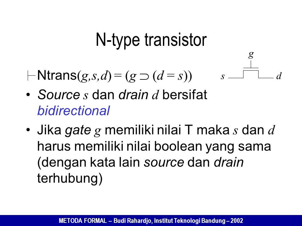 METODA FORMAL – Budi Rahardjo, Institut Teknologi Bandung – 2002 Ntrans (g,s,d) = (g  (d = s)) Source s dan drain d bersifat bidirectional Jika gate g memiliki nilai T maka s dan d harus memiliki nilai boolean yang sama (dengan kata lain source dan drain terhubung) N-type transistor sd g